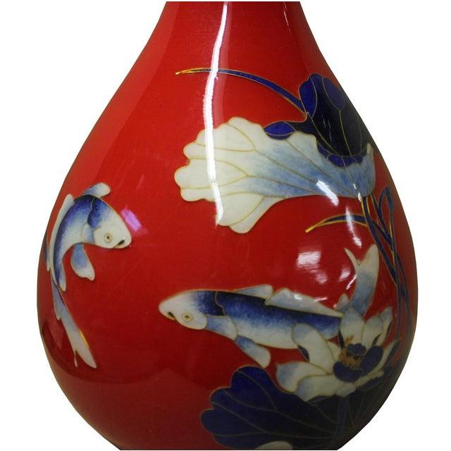 Chinese Red Porcelain Fish Lotus Vase - Image 2 of 8