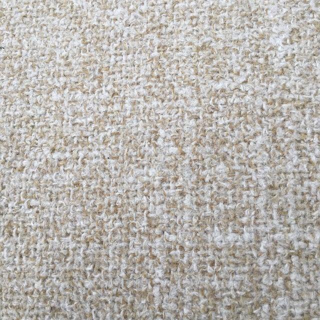 Mid-Century Woven Wool Loveseat & Ottoman - Image 8 of 9