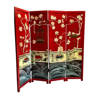 Vintage Red Lacquered Chinese Screen