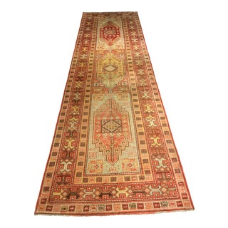 "Geometric Vintage Turkish Oushak Runner - 3'5""x12'3"""