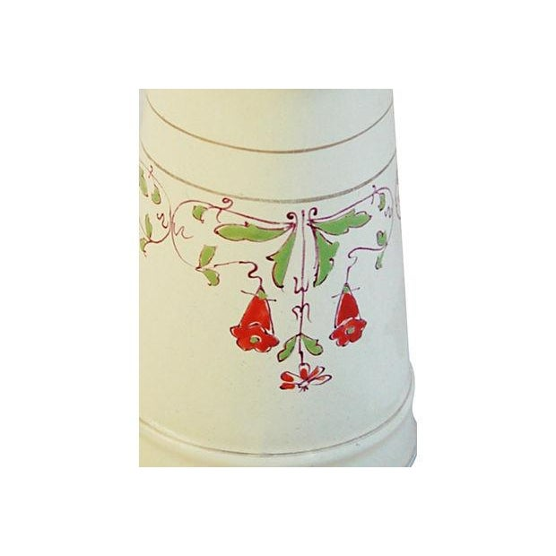 Antique 1930s French Hand-Painted White Pitcher - Image 7 of 7