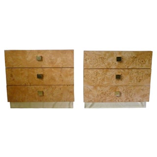 Vintage Burl Wood and Brass Chests - A Pair