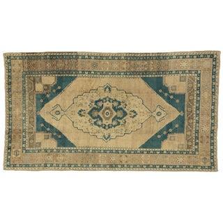 """Vintage Turkish Oushak Rug in Cerulean Blue - 5'6"""" x 9'10"""""""