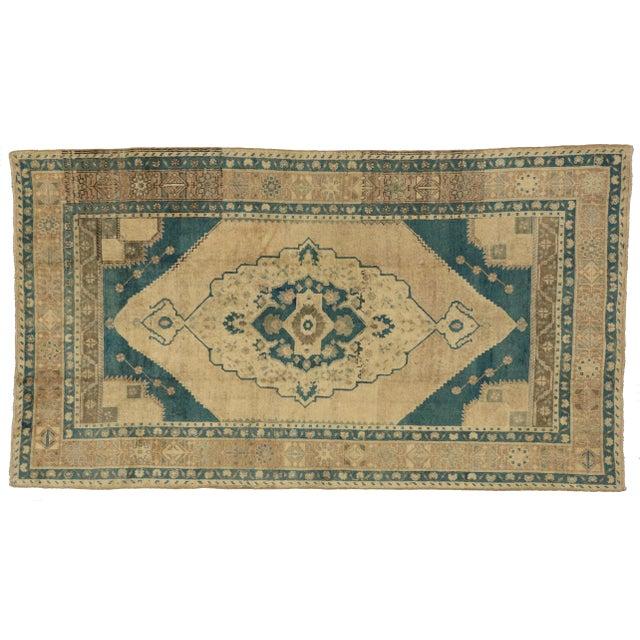 """Vintage Turkish Oushak Rug in Cerulean Blue - 5'6"""" x 9'10"""" - Image 1 of 4"""