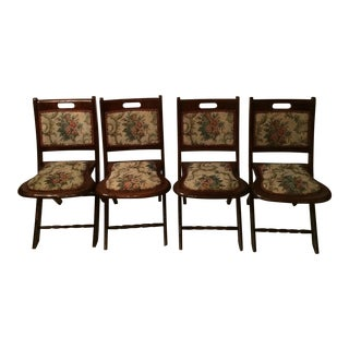 Vintage Victorian Style Campaign Parlor Chairs - Set of 4