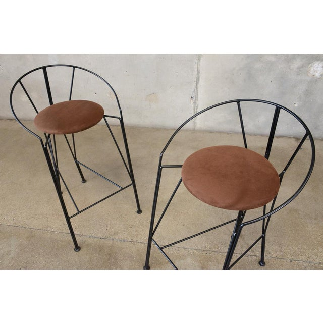 Unique Black-Painted Iron Barstools -- A Pair - Image 3 of 4