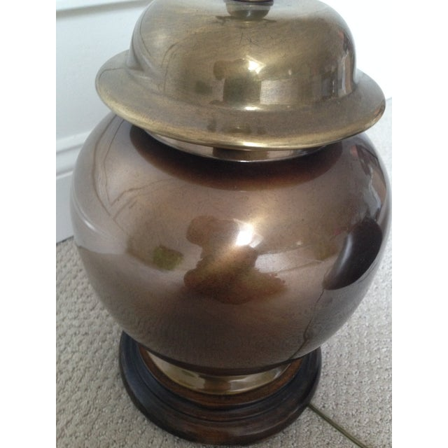 Hollywood Regency Chinoiserie Brass Ginger Lamp - Image 3 of 8