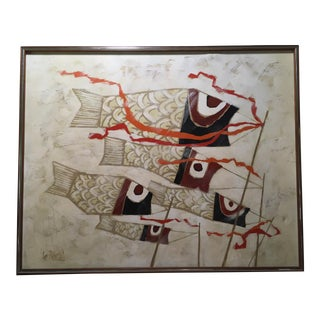 Lee Reynolds Mid-Century Japanese Carp Windsocks Painting