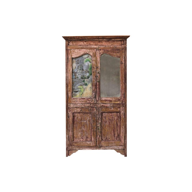 Vintage Pink Armoire with Handpainted Glass Panel - Image 1 of 6