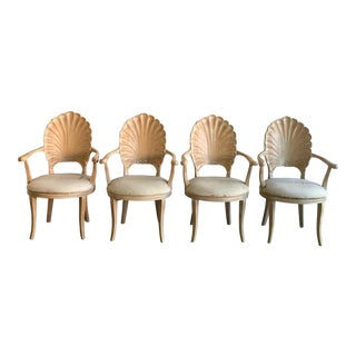 Vintage Wood Carved Shell Dining Chairs - Set of 4