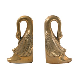 Brass Swan Bookends