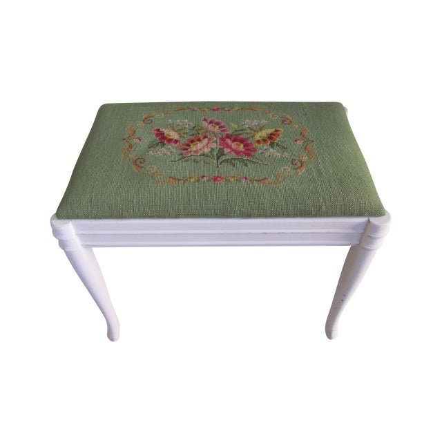 Green & Pink Tapestry Bench - Image 1 of 5