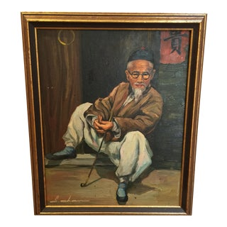 1950's Sui Chan Oil Painting of Chinese Man