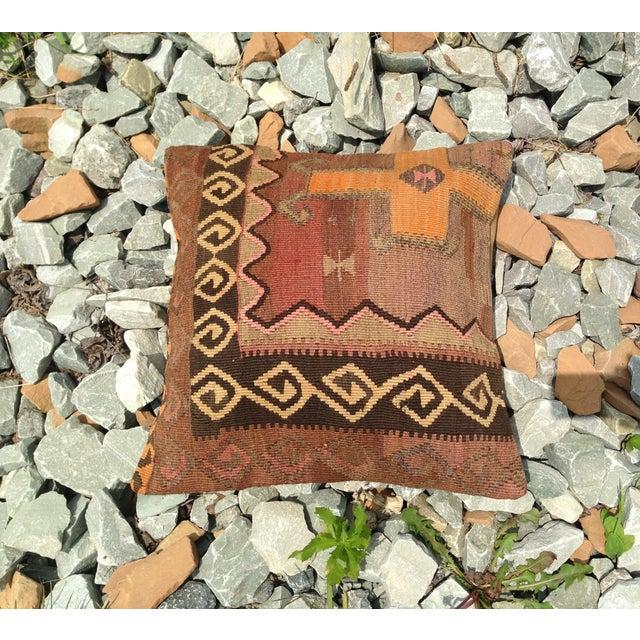 "Decorative Anatolian Kilim Pillow - 20""x 20"" - Image 3 of 6"