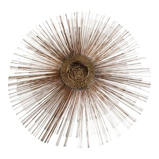 Mid-Century Brutalist Copper Sunburst Wall Sculpture