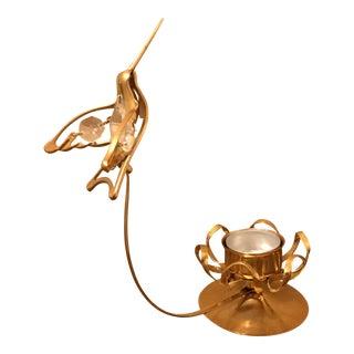Vintage Brass Hummingbird Candle Holder