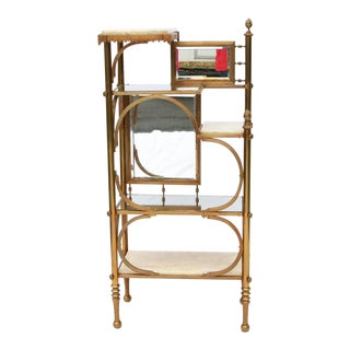 Victorian Brass & Marble Etagere