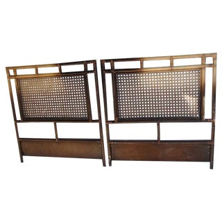 Vintage Cane & Bamboo Twin Headboards - A Pair