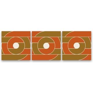 "1970s Orange ""Record"" Triptych - Set of 3"