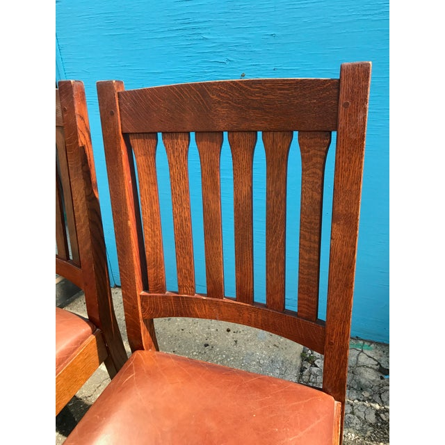 Stickley Mission Cottage Oak & Leather Side Chairs - A Pair - Image 9 of 11