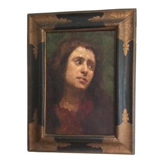 Antique Oil Portrait Painting of a Woman
