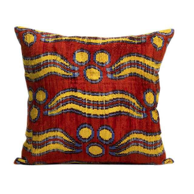 Image of Bhangra Ikat Silk Pile Accent Pillows - A Pair