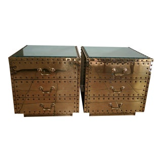 Sarreid Style Vintage Brass Nightstands - A Pair
