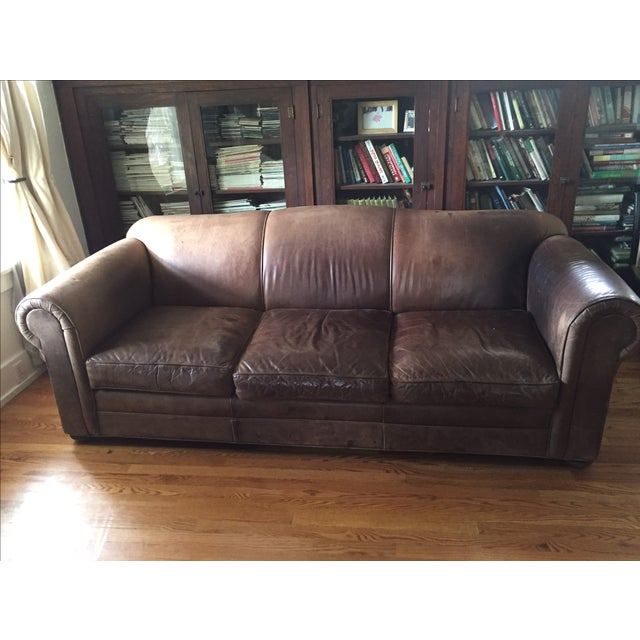 Mitchell Gold Brown Leather Sofa - Image 2 of 8