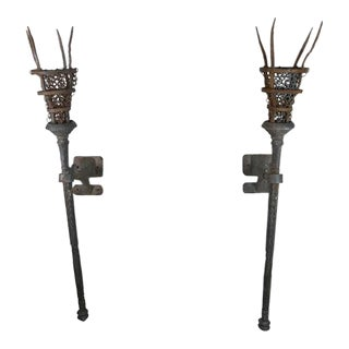 Wrought Iron Torchiere Sconces - a Pair