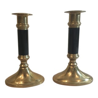 Black & Brass Candlesticks- A Pair