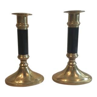 Black & Brass Candlesticks- A Pair