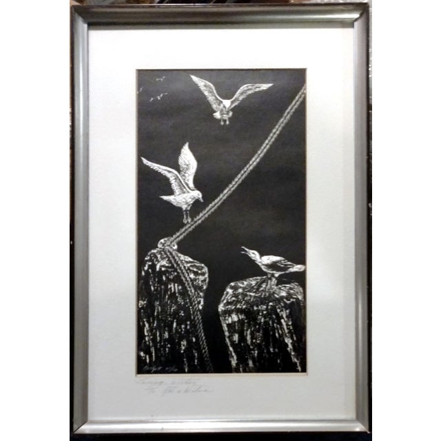 "Jane Heckett ""Seagulls"" Knife Etching - Image 1 of 9"