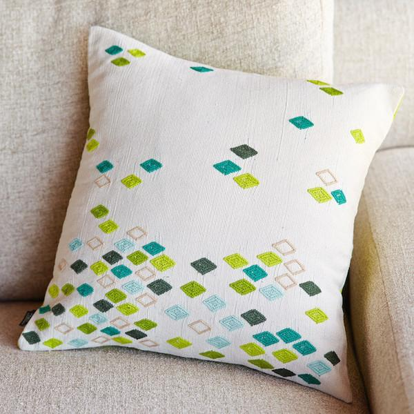 Green Diamond Pillow Cover - Image 2 of 5