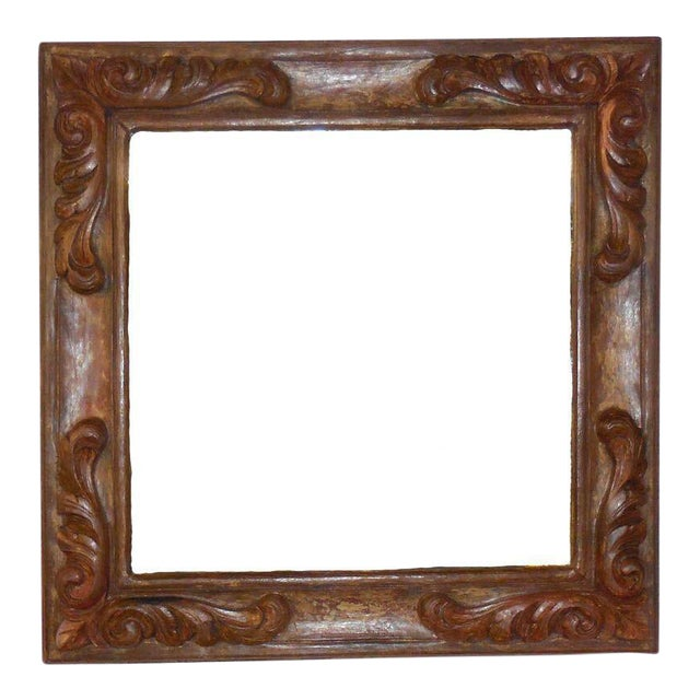 Hand-Carved Wooden Mirror - Image 1 of 6