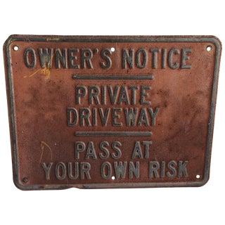Vintage Private Driveway Sign