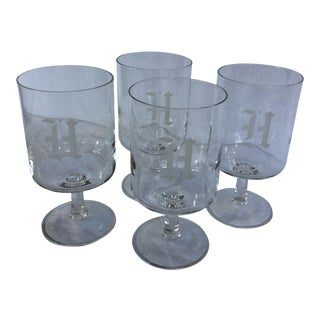 """Mid-Century """"H Monogram"""" Etched Crystal Water Goblet - Set of 4"""