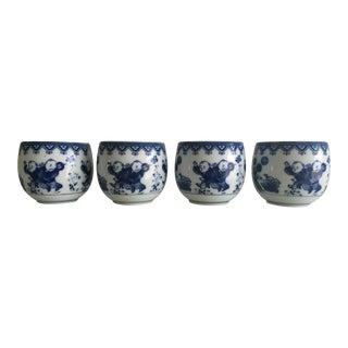 Blue & White Porcelain Tea Cups - Set of 4