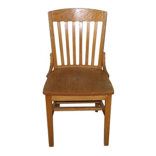 Oak Slatted Back Vintage Chair