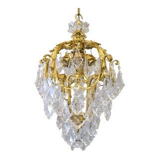 """""""CALDWELL"""" Doré Bronze Crystal Light Fixture (8-Light)"""