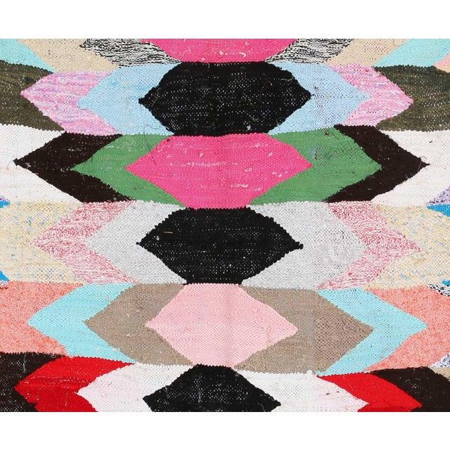 "Vintage Moroccan Kilim Boucherouite Rug - 3'7"" x 6'5"" - Image 2 of 2"
