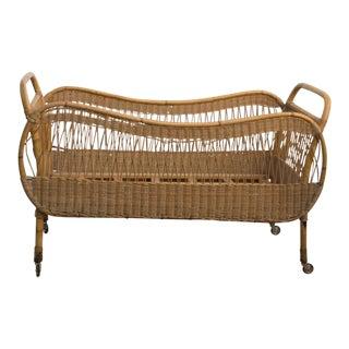 Vintage Rattan & Bamboo Bassinet