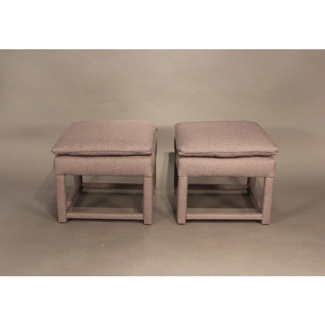 Upholstered Parsons Style Ottomans - Pair - Image 2 of 6