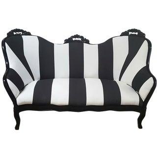 Victorian Black & White Stripe Loveseat