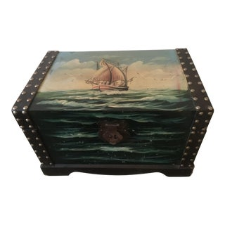 Vintage Painted Wooden Treasure Chest Box