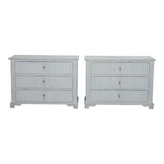 Pair Painted and Reeded Swedish Three Drawer Chests