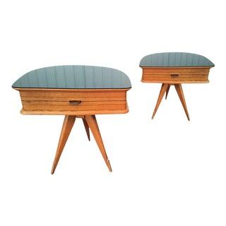 Pair of Italian Vintage nightstands, in fruit wood and black glass top.