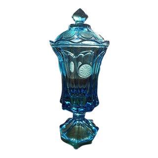 Blue Coin Glass Apothecary Jar