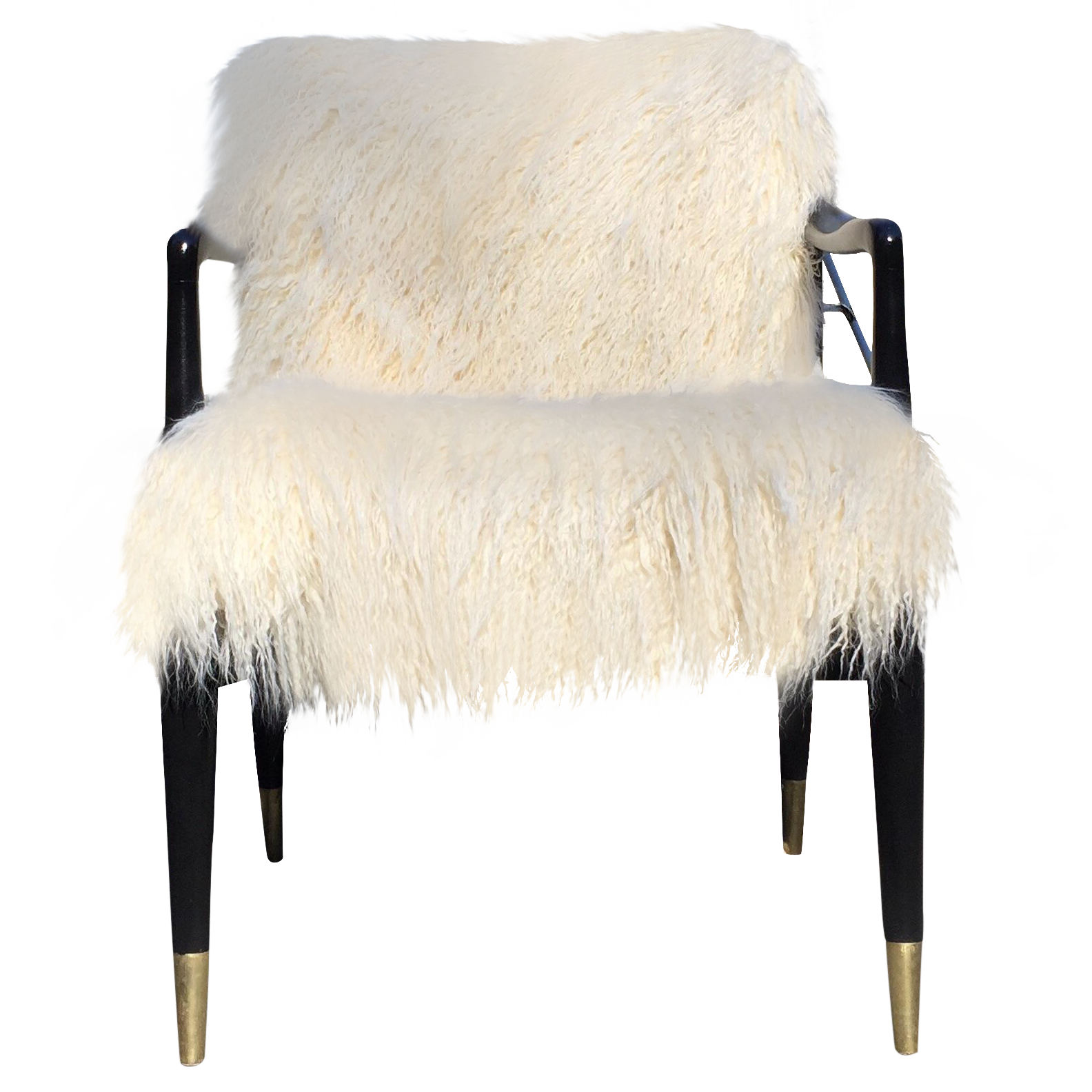 Image of Mid-Century Faux Fur Accent Chair