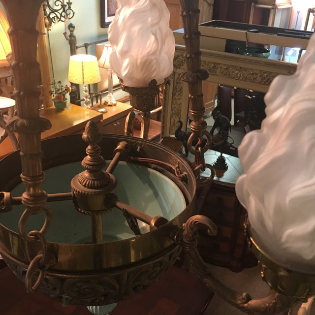 Antique Bronze French Art Deco Chandelier With Lalique Style Globes - Image 6 of 10