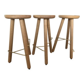 Another Country Oak Bar Stools - Set of 3